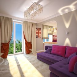 Яркий дизайн квартиры-студии