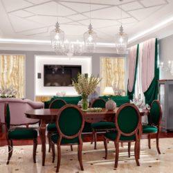 Интерьер квартиры, современная классика, серые тона